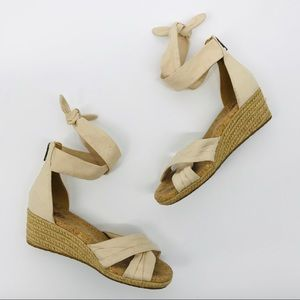 UGG cream espadrille wrap wedges